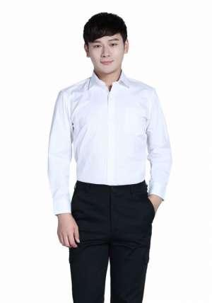 白色商务V领长袖衬衫